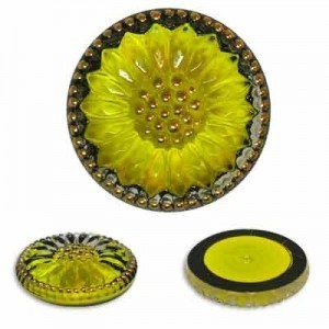Sunburst Flower Yellow/Gold Glass Button-Top Cabochons Apx 18mm