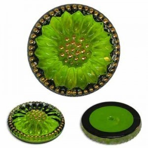 Sunburst Flower Green/Gold Glass Button-Top Cabochons Apx 18mm