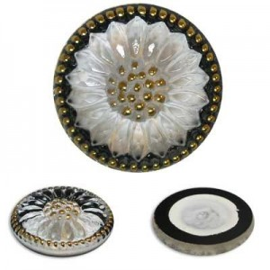 Sunburst Flower White/Gold Glass Button-Top Cabochons Apx 28mm