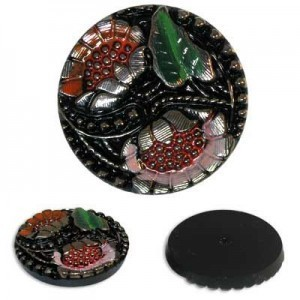 Colorful Flowers on Black Glass Button-Top Cabochons Apx 28mm