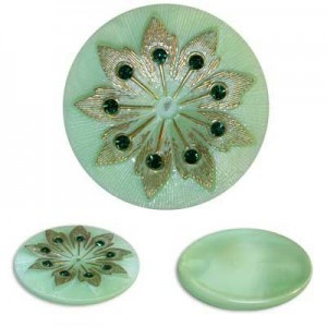 Rhinestone Studded Gold Flower on Mint Green Glass Button-Top Cabochons Apx 38mm