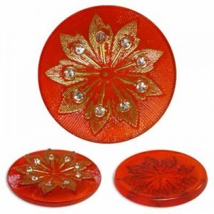 Rhinestone Studded Gold Flower on Red Glass Button-Top Cabochons Apx 38mm