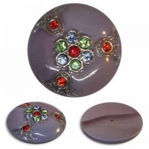 Rhinestone Studded Lilac Glass Button-Top Cabochons Apx 32mm