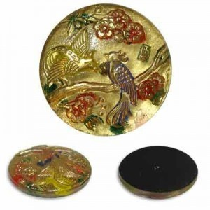 Birds on Branch Gold Glass Button-Top Cabochons Apx 28mm