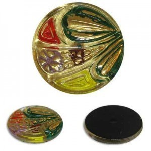 Abstract Flowers Gold Glass Button-Top Cabochons Apx 28mm