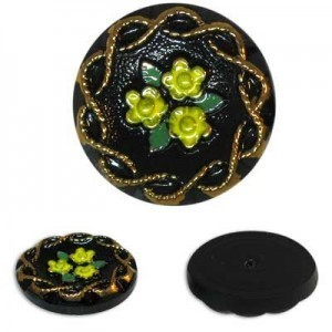 Yellow Flowers on Black Glass Button-Top Cabochons Apx 18mm