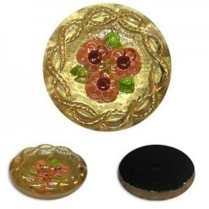 Peach Flowers on Gold Glass Button-Top Cabochons Apx 18mm