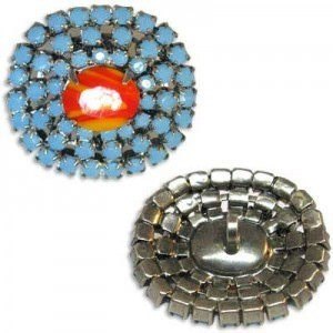 Rhinestone Czech Button Apx 30x28mm Coral Center / Turquoise Outer on Antique Silver