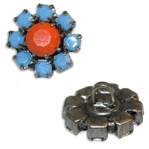 Rhinestone Czech Button Apx 14mm Coral Center / Turquoise Outer on Antique Silver