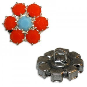 Rhinestone Czech Button Apx 14mm Turquoise Center / Coral Outer on Antique Silver