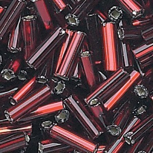 #2 (Approx 4.5mm) Garnet Silver-Lined Czech Glass Bugle Beads