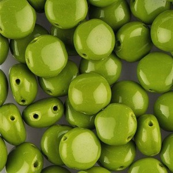 Preciosa® Candy™ 2-Hole Cabochon 8mm Czech Glass Olivine Opaque - 50pc