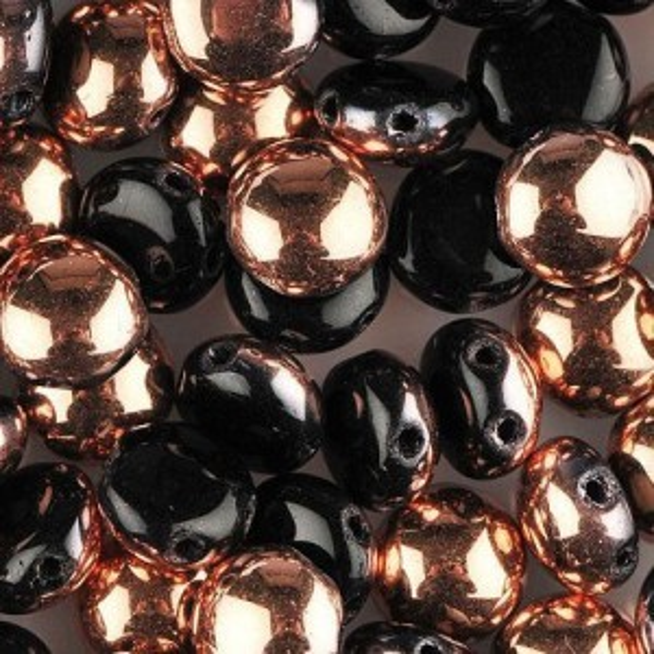 Preciosa® Candy™ 2-Hole Cabochon 8mm Czech Glass Jet Capri - 50pc
