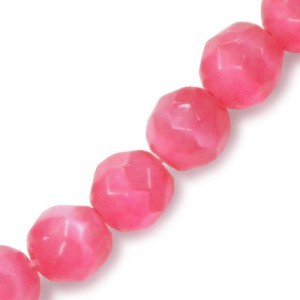 6mm Cranberry Faceted Round Cat's Eye 16 Inch Strand (Approx.66 Beads)