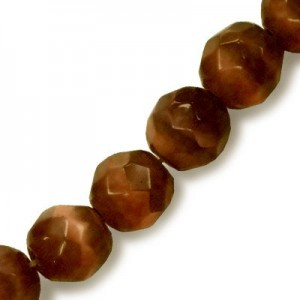 6mm Dark Brown Faceted Round Cat's Eye 16 Inch Strand (Approx.66 Beads)