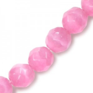 6mm Dark Pink Faceted Round Cat's Eye 16 Inch Strand (Approx.66 Beads)