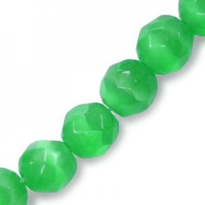 6mm Emerald Green Faceted Round Cat's Eye 16 Inch Strand (Approx.66 Beads)
