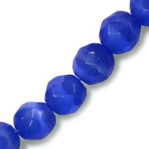 6mm Royal Blue Faceted Round Cat's Eye 16 Inch Strand (Approx.66 Beads)