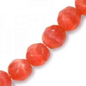 6mm Red Faceted Round Cat's Eye 16 Inch Strand (Approx.66 Beads)