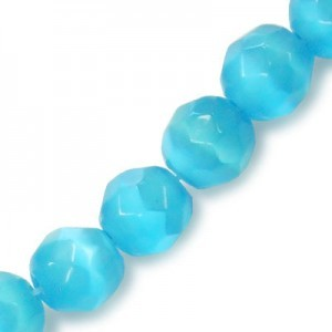 6mm Turquoise Faceted Round Cat's Eye 16 Inch Strand (Approx.66 Beads)