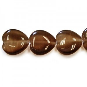 12mm Dark Brown Heart Cat's Eye 16 Inch Strand (Approx.33 Beads)