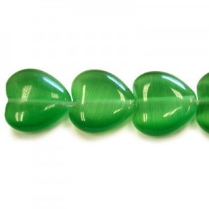 12mm Emerald Green Heart Cat's Eye 16 Inch Strand (Approx.33 Beads)