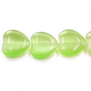 12mm Peridot Heart Cat's Eye 16 Inch Strand (Approx.33 Beads)