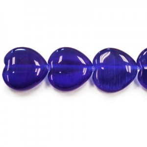 12mm Royal Blue Heart Cat's Eye 16 Inch Strand (Approx.33 Beads)