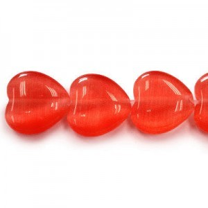 12mm Red Heart Cat's Eye 16 Inch Strand (Approx.33 Beads)