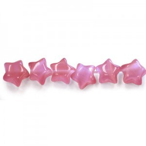 7mm Cranberry Star Cat's Eye 16 Inch Strand (Approx.57 Beads)