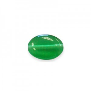 10x8mm Emerald Green Flat Oval Cat's Eye 16 Inch Strand (Approx.40 Beads)