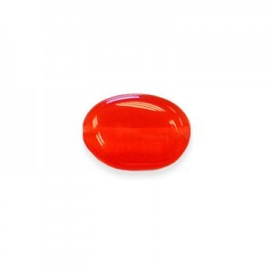 14x10mm Red Flat Oval Cat's Eye 16 Inch Strand (Approx.28 Beads)