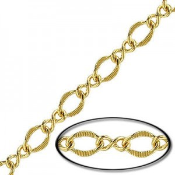10x7mm Brass Curb Fancy Chain Gold Finish - 10mtr(33ft) Spool