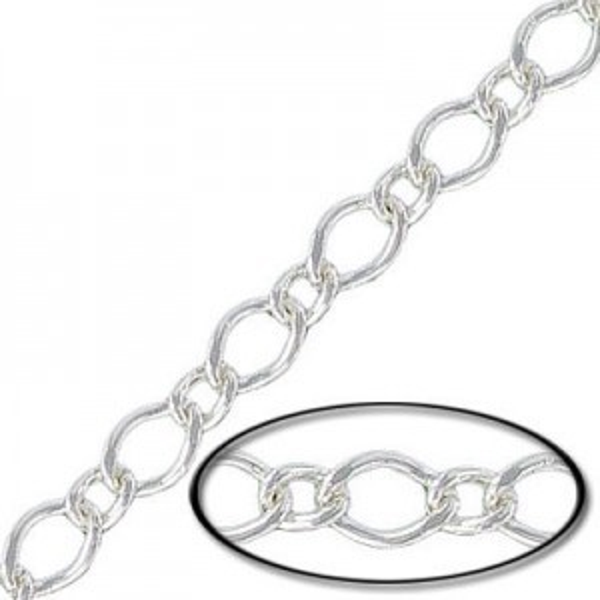 7x5mm/5x3mm Steel Curb Filed Chain Silver Finish - 10mtr(33ft) Spool