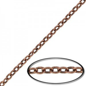5x3mm Steel Cable Textured Chain Copper Antique Finish - 20mtr(65ft) Spool