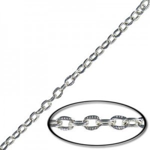 5x3mm Steel Cable Textured Chain Silver Finish - 20mtr(65ft) Spool