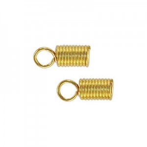 Metal Spring Cord End Lg Gold Plate (100pc)
