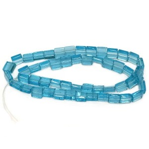 6mm Aqua Half Cut Cube Glass Bead Sold by 16 Inch Strand (Apx 66 Beads)
