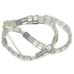 6mm Crystal AB Half Cut Cube Glass Bead Sold by 16 Inch Strand (Apx 66 Beads)