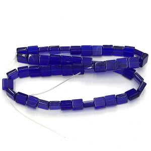 8mm Cobalt Half Cut Cube Glass Bead Sold by 16 Inch Strand (Apx 50 Beads)