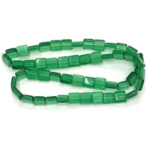 8mm Emerald Half Cut Cube Glass Bead Sold by 16 Inch Strand (Apx 50 Beads)