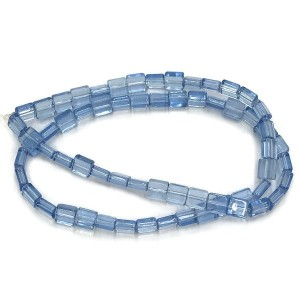 6mm Light Sapphire Half Cut Cube Glass Bead Sold by 16 Inch Strand (Apx 66 Beads)