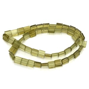 8mm Olivine Half Cut Cube Glass Bead Sold by 16 Inch Strand (Apx 50 Beads)