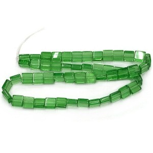8mm Peridot Half Cut Cube Glass Bead Sold by 16 Inch Strand (Apx 50 Beads)