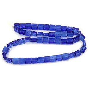 8mm Sapphire Half Cut Cube Glass Bead Sold by 16 Inch Strand (Apx 50 Beads)