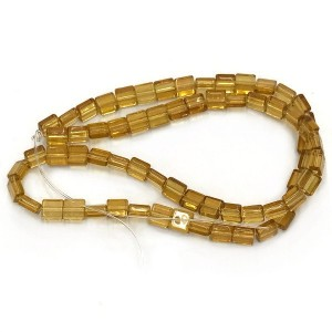 8mm Topaz Half Cut Cube Glass Bead Sold by 16 Inch Strand (Apx 50 Beads)