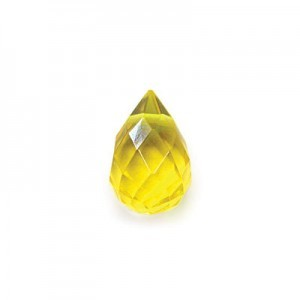 8x12mm Yellow Glass#1 Hand Cut Drop 16 Inch Strand (Approx. 30 Beads)