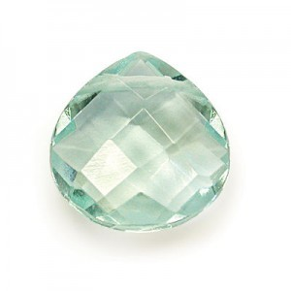 6x6mm Aqua Quartz Hand Cut Pear 16 Inch Strand (Approx. 50 Beads)