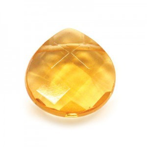 16x16mm Citrine Hand Cut Pear 16 Inch Strand ( Approx. 25 Beads )
