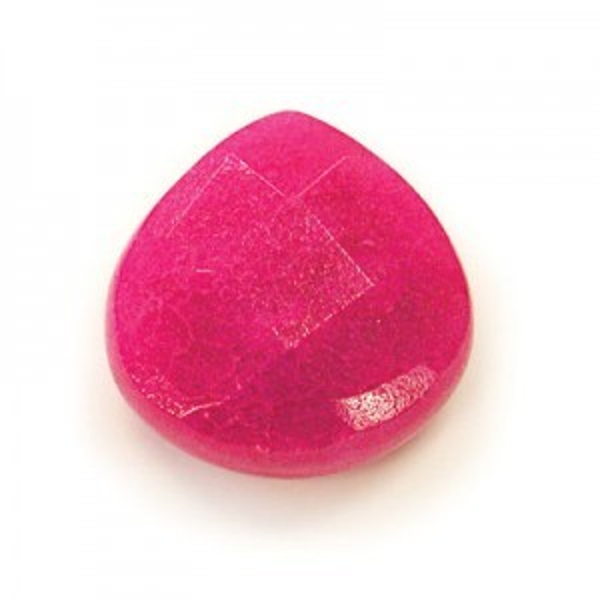 13x13mm Fuchsia Hand Cut Pear 16 Inch Strand (Apx 22 Beads)